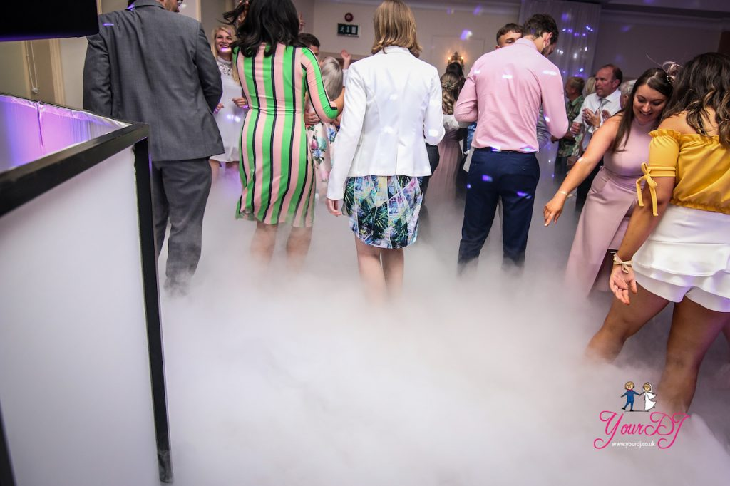 Careys-Manor-wedding-clouds-fog-dry-ice